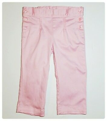 Janie and Jack Blossom Celebration Pink Sateen Pinktucked Crop Pant Girls 4T EUC