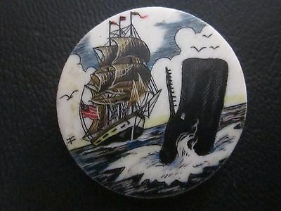 Scrimshaw Ship and Sperm Whale at Sea Disk