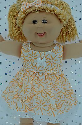 "Play n Wear Doll Clothes For16"" Cabbage Patch WHITE/ORANGE FLOWER DRESS~HEADBAND"
