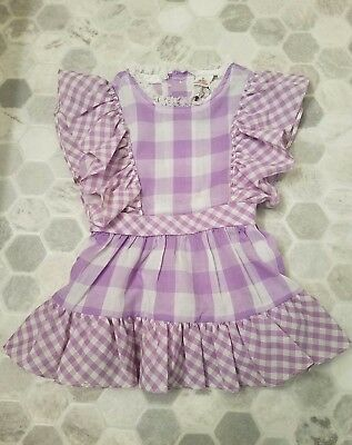 Vintage Sears Purple Lilac Checkered Party Pinafore Dress Baby Girl Size 2T EUC