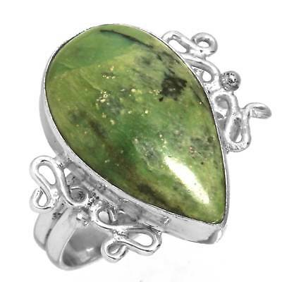 Green Swiss Opal Solid 925 Sterling Silver Handmade Ring Size 7.5 dr23227