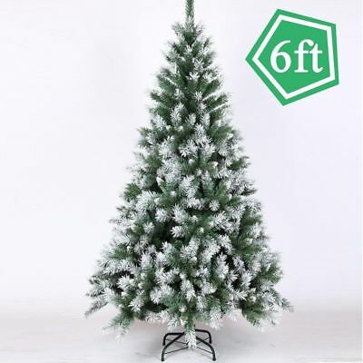 6ft 1 8m Plastic Christmas Tree White Snow Flock Winter Décor W Stand Ma