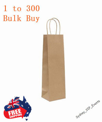 WINE GIFT BOTTLE BAG TWIST HANDLE BROWN KRAFT PAPER BULK 10pcs -100pcs PARTY