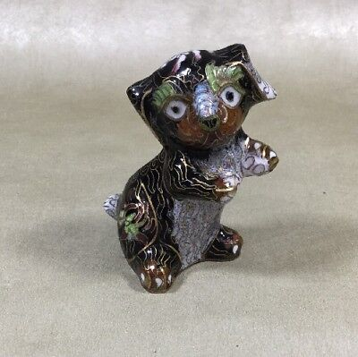 """Cloisonne 3"""" Puppy Dog Black With Gold Gilt Made In China"""