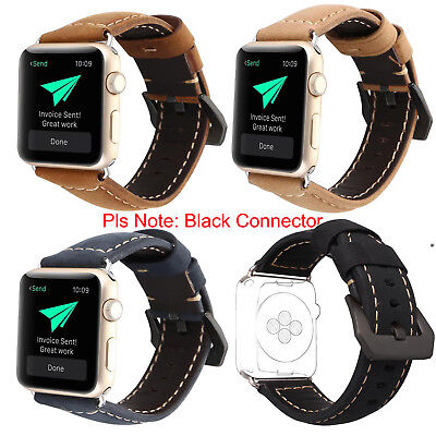 Premium Genuine Leather Watch Strap Band for Apple Watch Series 3/2/1 38/42mm