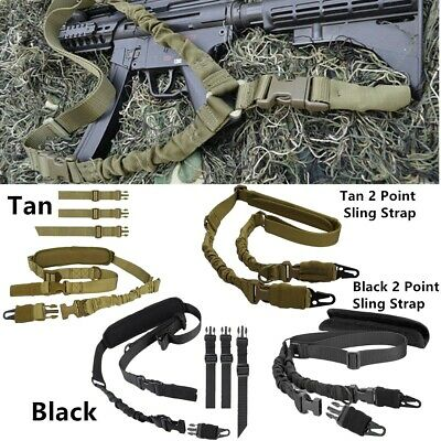 Hunting Tactical Single One Point Adjustable Bungee Rifle Gun 2Point Sling Strap