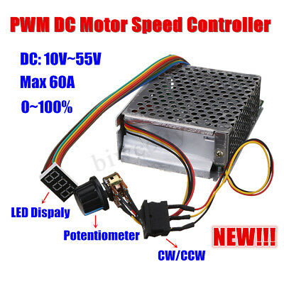DC PWM Motor Speed Controller DC 10-50V 12V 24V 48V 60ACW CCW Reversible Switch