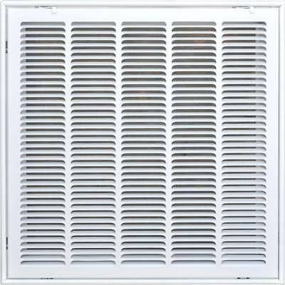 "20"" x 20"" Return Air Ventilation Steel Indoor Filter Grill White w Fixed Blades"
