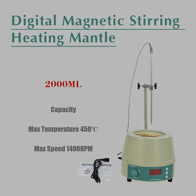 2000ml 450W Electric Digital LCD Magnetic Stirring Heating Mantle 842℉ 0-1400prm
