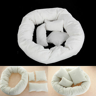 4X Newborn Baby Basket Pillow Photography Filler Wheat Donut Posing Props Set UK