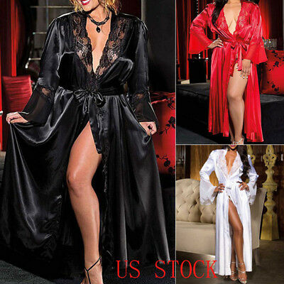 USA Sexy Womens Lingerie Dress Long Bath Robe Gown Babydoll Nightwear Sleepwear