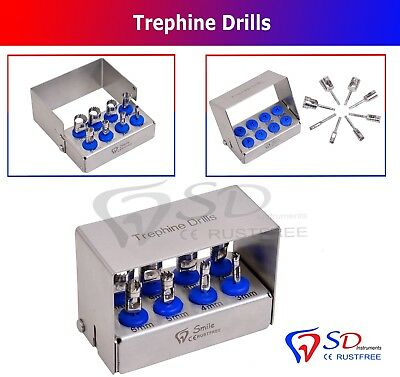 Dental Trephine Drills Kit 8 PCS Implant Surgical / Dental Surgery Bur Holder CE