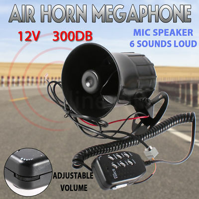 12V Air Siren Horn Warning Megaphone Car Truck MIC Speaker 6 Sounds Loud AU