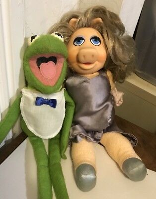 Vintage Muppets Kermit The Frog And Miss Piggy Fisher Price Plush 1981 #857 #890