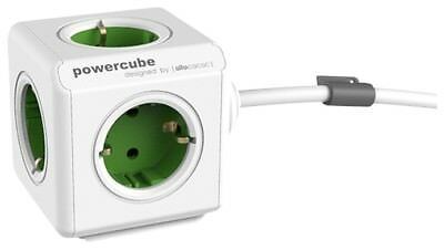 Mehrfachsteckdose allocacoc PowerCube Extended inkl. 1,5 m Kabel grün Type F