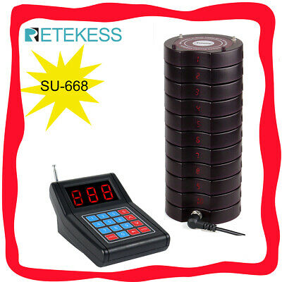 Restaurant Wireless Paging Queuing System 1*Keypad Transmitter&10*Coaster Pagers