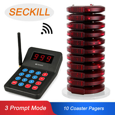 999CH Restaurant Wireless Calling Paging Queuing System 1*Transmitter+10*Pager