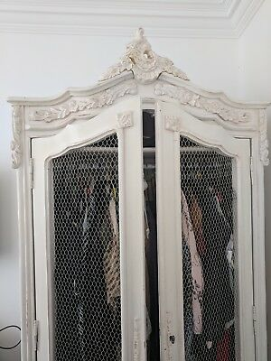 Beautiful Antique Solid Wood Wardrobe / French Armoire Full Height Shabby Chic
