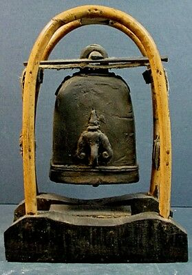 ANTIQUE THAI BUDDHIST BRONZE ELEPHANT BELL with BENT WOOD STAND