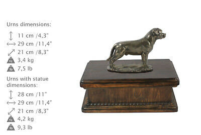 Rottweiler Urn for dog's ashes with relief and sentence Art Dog UK