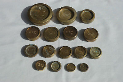 Job Lot Antique Vintage Brass Mixed Weighing Scales Weights Victorian Brighton