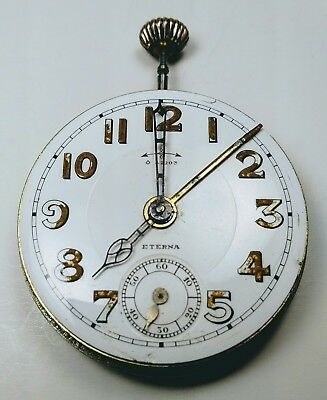 ETERNA ALARM MILITARY ANTIQUE POCKET WATCH MOVEMENT w/ ENAMEL DIAL & WORKING