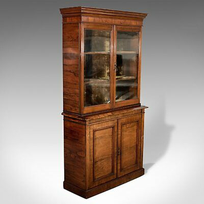 Antique Display Cabinet, Tall, Victorian, Rosewood, Bookcase, Circa 1900