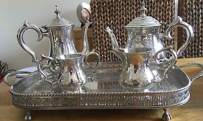 Vintage Epns Silver Plated Tea/coffee Set With Tray
