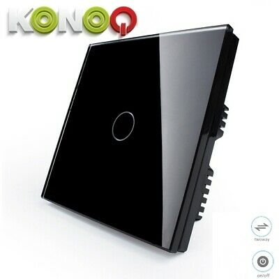 KONOQ+ Luxury Glass Panel Touch LED Light Smart Switch ON/OFF, Black, 1Gang/2Way