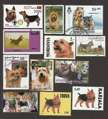 ON SALE!!  AUSTRALIAN TERRIER ** Int'l Postage Stamp Collection  **Great Gift **