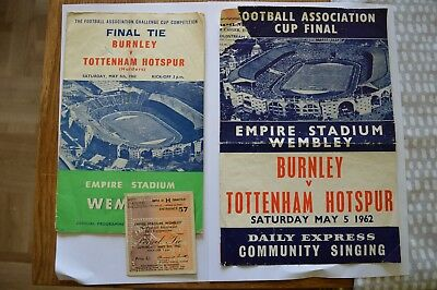 Burnley v Tottenham Hotspur Spurs FA Cup final 1962 programme songsheet ticket