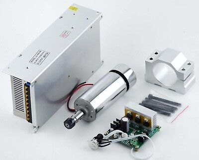 CNC 400W Air-cooled Spindle Motor & Mach3 PWM Speed Controller & Mount & 48V PSU