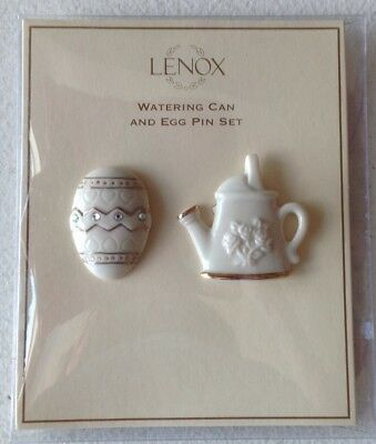 Lenox Easter Watering Can and Egg Pin Set Ivory China with 24 Karat Gold New