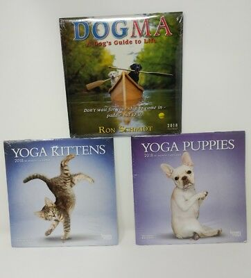 "16 Month 2018 Calendar 7"" x 7"" New Yoga Puppies Kittens Dogma"