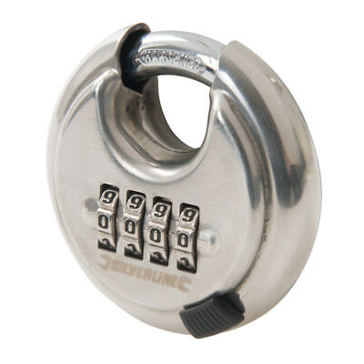 Silverline Stainless Steel Combination Disc Padlock 4-Digit 70mm | 926157