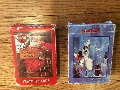 Lot of 2 Coca Cola Playing Cards - 334 & 384 used
