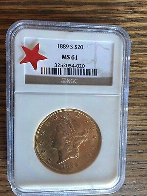 1889-S $20 LIBERTY DOUBLE EAGLE NGC MS61 MS-61 Better Date San Francisco Mint !!