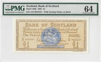 3.3.1967 Bank Of Scotland 1 Pound (( Pmg 64 ))