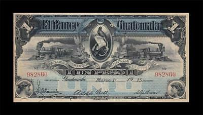 1915 Bank Of Guatemala 1 Peso **x-Rare** (( Ef ))