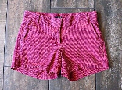 J. Crew Women's Red Blue Ribbed Striped Casual Cotton Chino Shorts Sz 0