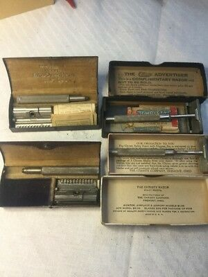 LOT OF FOUR (4) VINTAGE SAFETY RAZORS w CASES BOX CHRISTY/AUTO STROP USA Antique