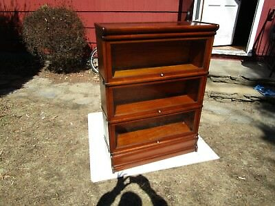 Antique C-1910 Signed Globe Wernicke ( Scarce) Walnut 3 Stack Barrister Bookcase