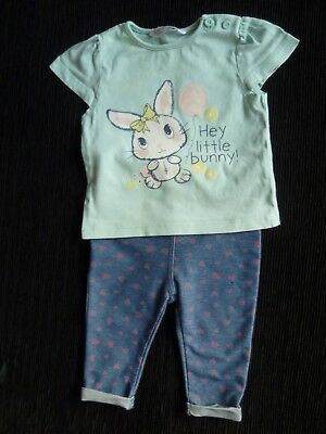 Baby clothes GIRL 3-6m outfit rabbit aqua short slee top/stretch trousers hearts