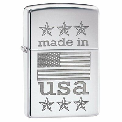 Zippo Made in USA With Flag Lighter, High Polish Chrome #29430