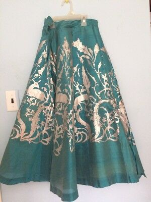 VINTAGE 1940S HAND BLOCKED SKIRT TAPLEYS Deer Leaves Flowers