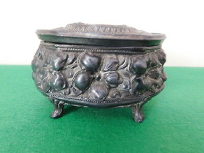 Vintage Pewter Hexagonal Trinket Box Lined Inside