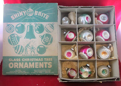 12 Vintage Indent Reflector SHINY BRITE Glass Christmas Tree Ornaments in Box