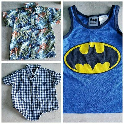 Boys Size 18 Months Dress Collared Button Down Shirts and Batman Tank Top 3 Lot