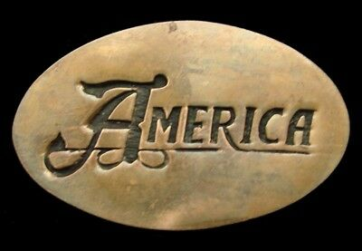 PK10172 VINTAGE 1970s **AMERICA** ROCK BAND MUSIC SOLID BRASS OVAL BUCKLE
