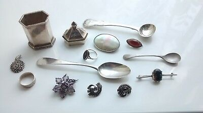Job lot of vintage and antique silver